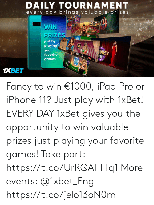 playing: Fancy to win €1000, iPad Pro or iPhone 11? Just play with 1xBet! EVERY DAY 1xBet gives you the opportunity to win valuable prizes just playing your favorite games!  Take part: https://t.co/UrRQAFTTq1 More events: @1xbet_Eng https://t.co/jelo13oN0m