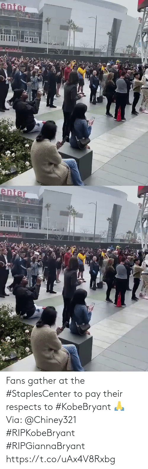 At: Fans gather at the #StaplesCenter to pay their respects to #KobeBryant 🙏 Via: @Chiney321 #RIPKobeBryant #RIPGiannaBryant https://t.co/uAx4V8Rxbg