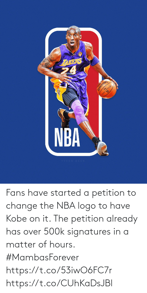 On It: Fans have started a petition to change the NBA logo to have Kobe on it. The petition already has over 500k signatures in a matter of hours.  #MambasForever https://t.co/53iwO6FC7r https://t.co/CUhKaDsJBl