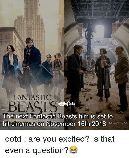 fantastic beasts: FANTASTIC  BEATS  mugglefacts  The next Fantastic Beasts film is set to  hit cinemas on November 16th 2018. MoviestillsDBc  MovieStillsDB.c qotd : are you excited? Is that even a question?😂