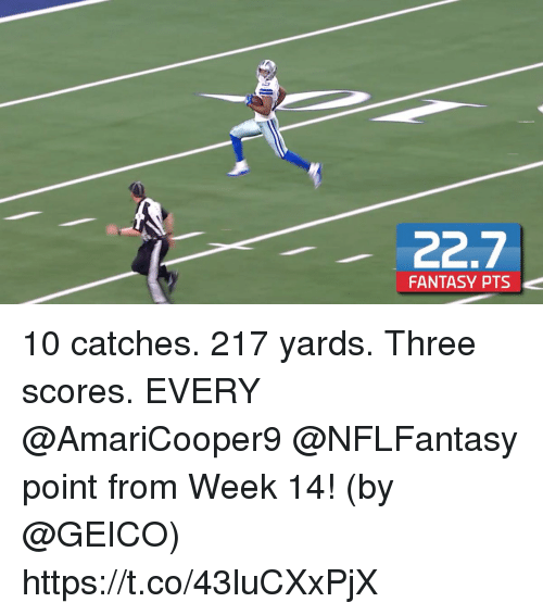 Memes, 🤖, and Geico: FANTASY PTS 10 catches. 217 yards. Three scores.   EVERY @AmariCooper9 @NFLFantasy point from Week 14! (by @GEICO) https://t.co/43luCXxPjX