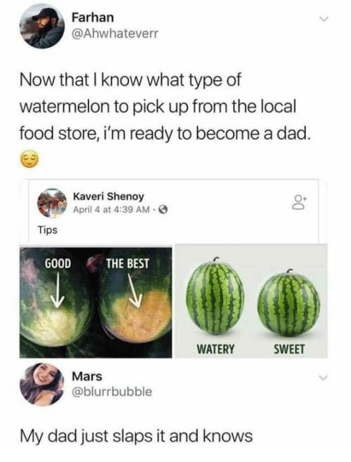 April: Farhan  @Ahwhateverr  Now that I know what type of  watermelon to pick up from the local  food store, i'm ready to become a dad.  Kaveri Shenoy  April 4 at 4:39 AM.  Tips  GOODTHE BEST  WATERY  SWEET  Mars  @blurrbubble  My dad just slaps it and knows