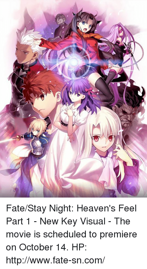 fate stay: Fate/Stay Night: Heaven's Feel Part 1 - New Key Visual  - The movie is scheduled to premiere on October 14. HP: http://www.fate-sn.com/