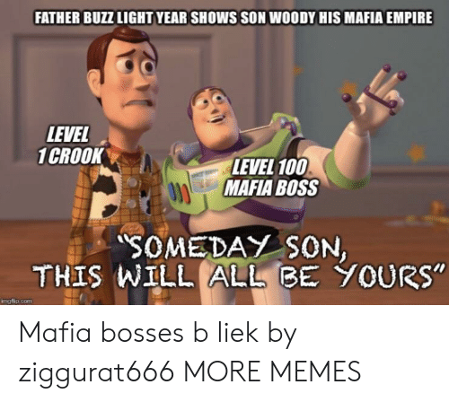 """Bosses: FATHER BUZZ LIGHT YEAR SHOWS SON WOODY HIS MAFIA EMPIRE  LEVEL  1CROOK  LEVEL 100  MAFIA BOSS  SOMEDAY SON  THIS WILL ALLBE YOURs""""  mgflip.com Mafia bosses b liek by ziggurat666 MORE MEMES"""