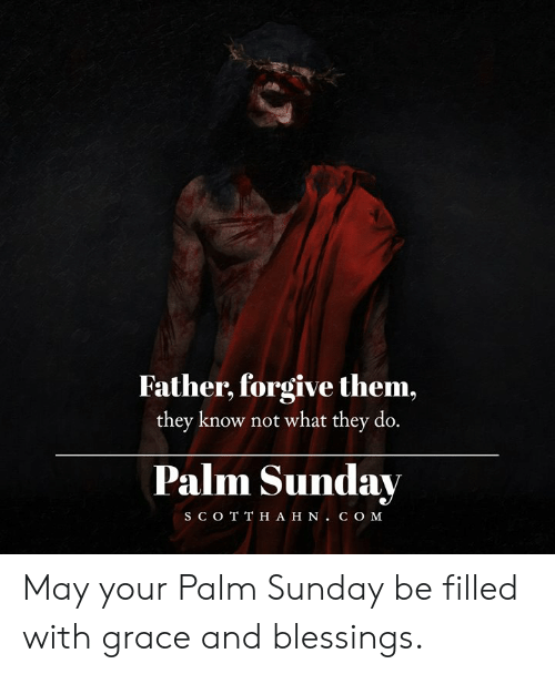 C O: Father, forgive them,  they know not what they do.  Palm Sunday  S C O T T H A H N. C O M May your Palm Sunday be filled with grace and blessings.