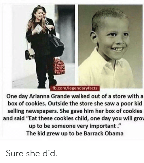 """Cookies, Obama, and Saw: fb.com/legendaryfacts  One day Arianna Grande walked out of a store with a  box of cookies. Outside the store she saw a poor kid  selling newspapers. She gave him her box of cookies  and said """"Eat these cookies child, one day you will groL  up to be someone very important.""""  The kid grew up to be Barrack Obama Sure she did."""