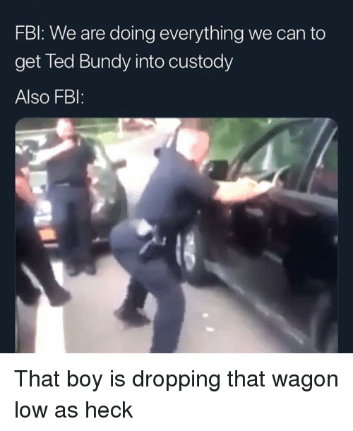 Fbl: FBl: We are doing everything we can to  get Ted Bundy into custody  Also FBI: That boy is dropping that wagon low as heck