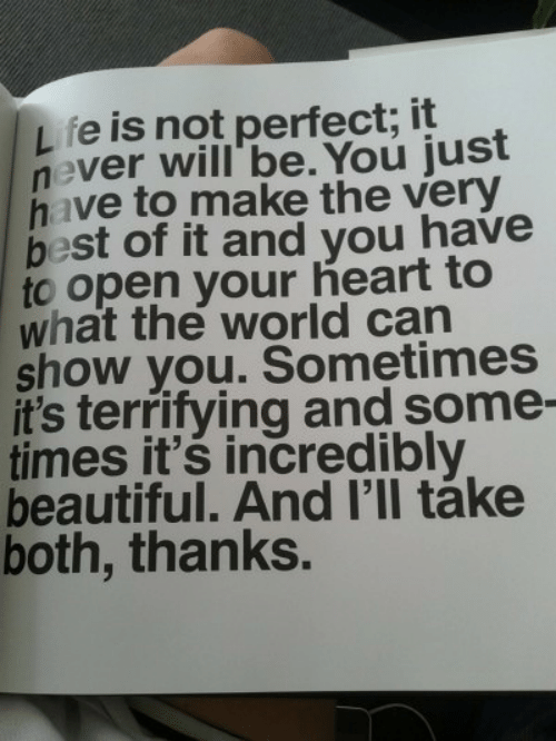 Beautiful, Best, and Heart: fe is not perfect; it  never will' be. You just  have to make the very  best of it and you have  to open your heart to  what the world can  show you. Sometimes  it's terrifying and some-  times it's incredibly  beautiful. And I'll táke  both, thanks.