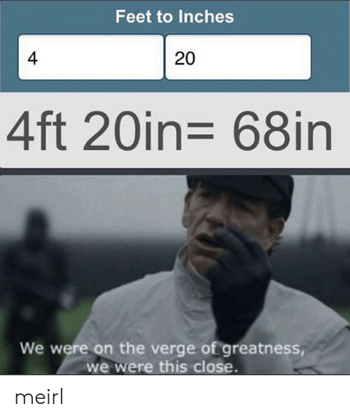 greatness: Feet to Inches  4  20  4ft 20in= 68in  We were on the verge of greatness,  we were this close. meirl