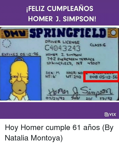 Memes, Sex, and Hair: FELIZ CUMPLEANOS  HOMER J. SIMPSON!  DAVE SPRINGFIELD O  DRIVER LICENSE  CLASS: C  C4043243  s os 12-96  742 ENERGREEN TERSacs  SEX: M HAIR: N  HT:6 NT 240  DOB OS-12-56  OVIX Hoy Homer cumple 61 años (By Natalia Montoya)
