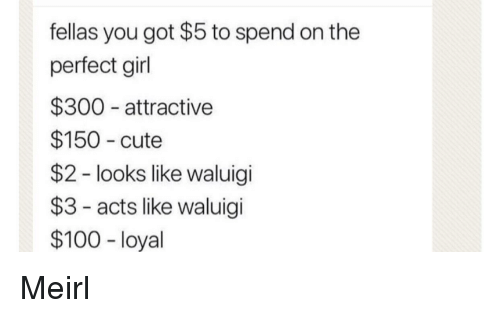 Anaconda, Cute, and Perfect Girl: fellas you got $5 to spend on the  perfect girl  $300 attractive  $150 cute  $2 - looks like waluigi  $3- acts like waluigi  $100 - loyal Meirl