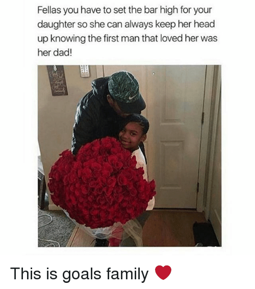 Dad, Family, and Goals: Fellas you have to set the bar high for your  daughter so she can always keep her head  up knowing the first man that loved her was  her dad! This is goals family ❤️