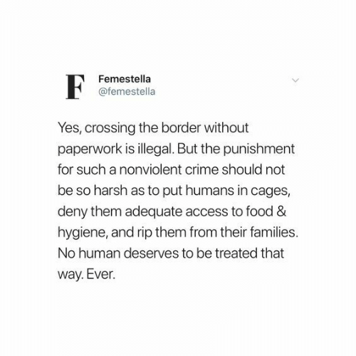 Border: Femestella  @femestella  Yes, crossing the border without  paperwork is illegal. But the punishment  for such a nonviolent crime should not  be so harsh as to put humans in cages,  deny them adequate access to food &  hygiene, and rip them from their families.  No human deserves to be treated that  way. Ever