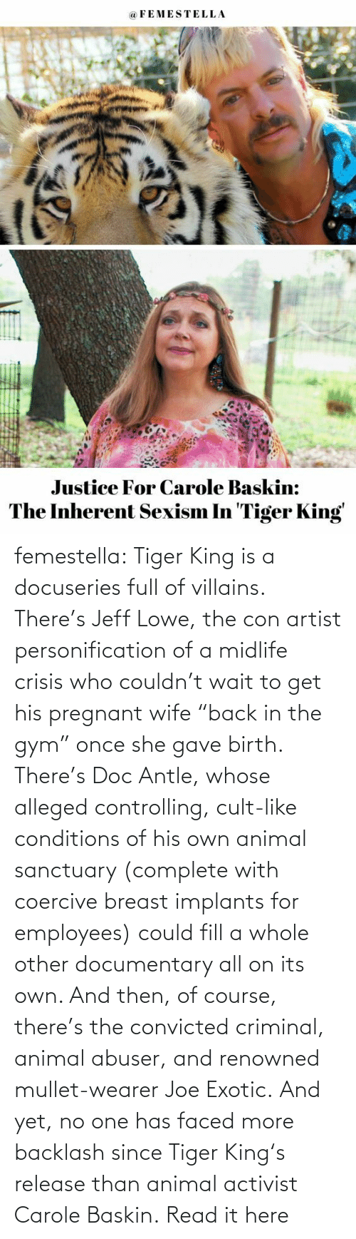 "Gave: femestella: Tiger King is a docuseries full of villains. There's Jeff Lowe, the con artist personification of a midlife crisis who couldn't wait to get his pregnant wife ""back in the gym"" once she gave birth. There's Doc Antle, whose alleged controlling, cult-like conditions of his own animal sanctuary (complete with coercive breast implants for employees) could fill a whole other documentary all on its own. And then, of course, there's the convicted criminal, animal abuser, and renowned mullet-wearer Joe Exotic. And yet, no one has faced more backlash since Tiger King's release than animal activist Carole Baskin. Read it here"
