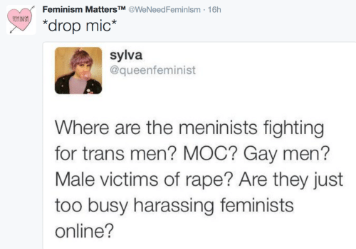 """Drop Mic: Feminism MattersTM @WeNeedFeminlsm 16h  MNSx  """"drop mic*  sylva  @queenfeminist  Where are the meninists fighting  for trans men? MOC? Gay men?  Male victims of rape? Are they just  too busy harassing feminists  online?"""