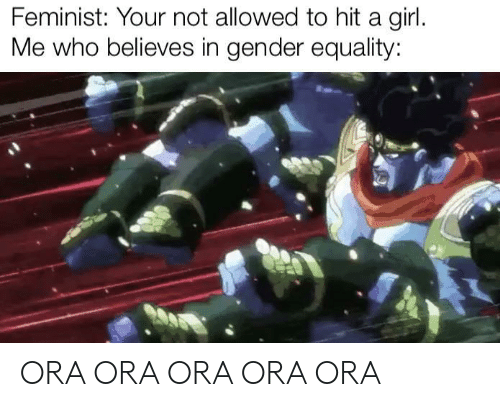 Girl, Gender, and Who: Feminist: Your not allowed to hit a girl.  Me who believes in gender equality: ORA ORA ORA ORA ORA