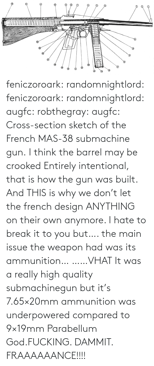 gun: feniczoroark:  randomnightlord:  feniczoroark:  randomnightlord:  augfc: robthegray:  augfc:  Cross-section sketch of the French MAS-38 submachine gun.   I think the barrel may be crooked  Entirely intentional, that is how the gun was built.    And THIS is why we don't let the french design ANYTHING on their own anymore.    I hate to break it to you but…. the main issue the weapon had was its ammunition…   ……VHAT   It was a really high quality submachinegun but it's 7.65×20mm ammunition was underpowered compared to 9×19mm Parabellum   God.FUCKING. DAMMIT. FRAAAAAANCE!!!!