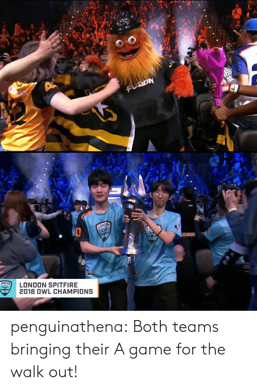 The Walk: Fi  LONDON SPITFIRE  2018 0WL CHAMPIONS penguinathena:  Both teams bringing their A game for the walk out!