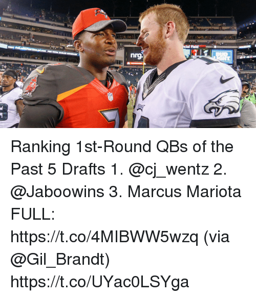 Memes, 🤖, and Marcus Mariota: Field Ranking 1st-Round QBs of the Past 5 Drafts  1. @cj_wentz 2. @Jaboowins 3. Marcus Mariota FULL: https://t.co/4MIBWW5wzq (via @Gil_Brandt) https://t.co/UYac0LSYga