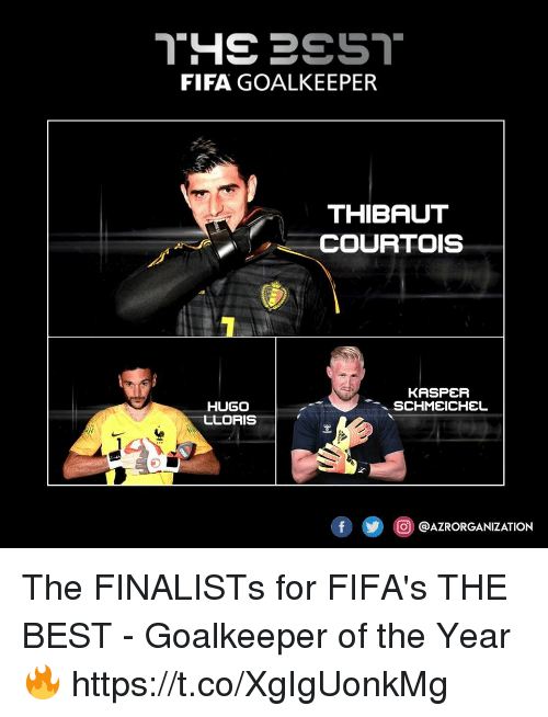 Fifa, Best, and Hugo: FIFA GOALKEEPER  THIBAUT  COURTOIS  HUGO  LLORIS  O @AZRORGANIZATION The FINALISTs for FIFA's THE BEST - Goalkeeper of the Year 🔥 https://t.co/XgIgUonkMg