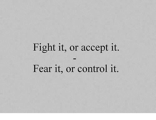Control, Fear, and Fight: Fight it, or accept it  Fear it, or control it.