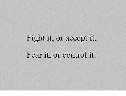 Fear It: Fight it, or accept it.  Fear it, or control it.