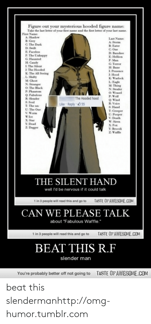 """Slender Man: Figure out your mysterious hooded figure name:  Take the last letter of your first name and the first letter of your last name.  First Name:  A: Shadow  в Сееy  C: The Dark  D: Swift  E Faceless  F. The Unhappy  G Haunted  Last Name:  A: Storm  B: Eater  C: One  D: Banshee  E: Hellion  F: Man  G: Terror  н Ваве  I Presence  JE Hood  K: Warlock  L Eagle  M: Thing  H Candy  I The Silent  J: The Hooded  K The All Seeing  L Shifty  M Ghost  N: Stranger  O. The Black  P. Phantom  Q Fabulous  N: Stealer  O: Weasel  P: Wolf  Q Wind  R: Voice  S: Hand  T: Creeper  U: Pooper  V: Death  W Siren  X Fox  The Hooded hood  R: Slender  S: Soul  T: The un  U: The One  V: Worm  Like Reply 55  Wlce  X: Star  Y: Dead  Z. Dagger  Y: Brocoli  Z: Waffle  THE SILENT HAND  well I'd be nervous if it could talk  TASTE OF AWESOME.COM  1 in 3 people will read this and go to  CAN WE PLEASE TALK  about """"Fabulous Waffle.""""  1 in 3 people will read this and go to  TASTE OF AWESOME.COM  BEAT THIS R.F  slender man  TASTE OF AWESOME.COM  You're probably better off not going to beat this slendermanhttp://omg-humor.tumblr.com"""