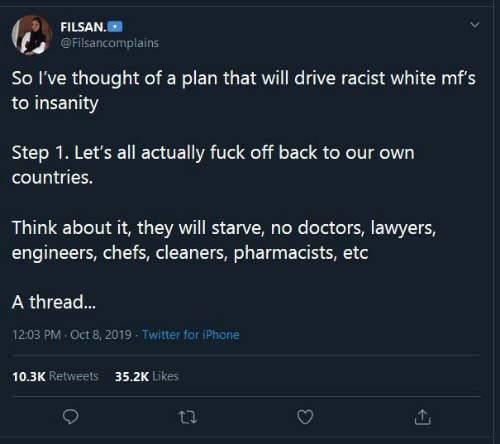 Racist: FILSAN.  @Filsancomplains  So l've thought of a plan that will drive racist white mf's  to insanity  our  Step 1. Let's all actually fuck off back to our own  countries.  Think about it, they will starve, no doctors, lawyers,  engineers, chefs, cleaners, pharmacists, etc  A thread...  12:03 PM · Oct 8, 2019 - Twitter for iPhone  10.3K Retweets  35.2K Likes