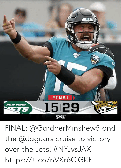 Yor: FINAL  1529  NEW YOR  ETS FINAL: @GardnerMinshew5 and the @Jaguars cruise to victory over the Jets! #NYJvsJAX https://t.co/nVXr6CiGKE