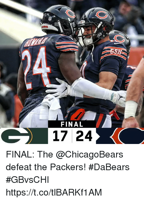 Memes, Packers, and 🤖: FINAL  17 24 FINAL: The @ChicagoBears defeat the Packers! #DaBears  #GBvsCHI https://t.co/tlBARKf1AM