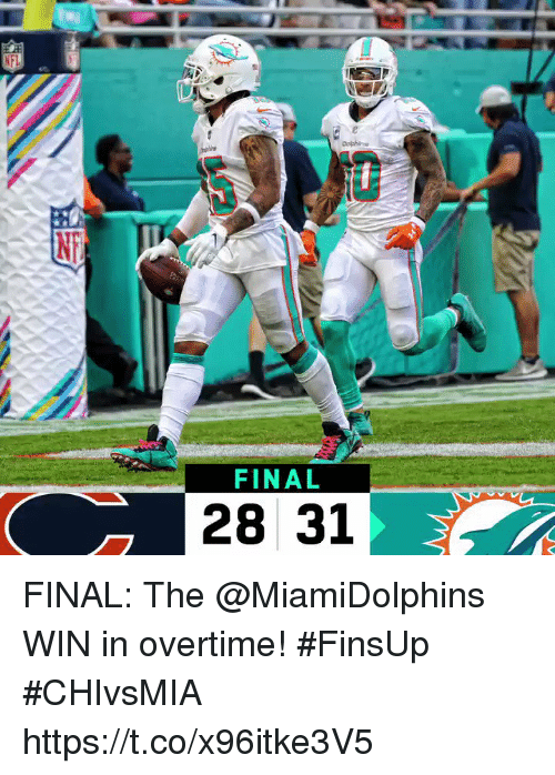 Memes, 🤖, and Win: FINAL  28 31 FINAL: The @MiamiDolphins WIN in overtime! #FinsUp #CHIvsMIA https://t.co/x96itke3V5