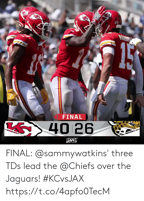 Memes, Chiefs, and 🤖: FINAL  S40 26 FINAL: @sammywatkins' three TDs lead the @Chiefs over the Jaguars! #KCvsJAX https://t.co/4apfo0TecM