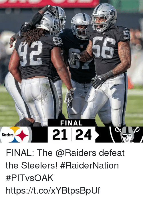 Memes, Raiders, and Steelers: FINAL  Steelers FINAL: The @Raiders defeat the Steelers! #RaiderNation  #PITvsOAK https://t.co/xYBtpsBpUf