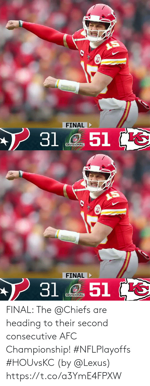 Championship: FINAL: The @Chiefs are heading to their second consecutive AFC Championship! #NFLPlayoffs #HOUvsKC  (by @Lexus) https://t.co/a3YmE4FPXW