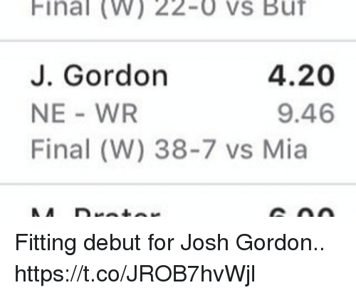 Football, Nfl, and Sports: Final (W) 22-0 vs Buf  J. Gordon  NE - WR  Final (W) 38-7 vs Mia  4.20  9.46 Fitting debut for Josh Gordon.. https://t.co/JROB7hvWjl