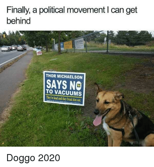Thor, Doggo, and Him: Finally, a political movement I can get  behind  THOR MICHAELSON  SAYS NO  TO VACUUMS  They're loud and they freak him out Doggo 2020