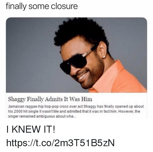Ambiguous: finally some closure  Shaggy Finally Admits It Was Him  Jamaican raggae-hip hop-pop cross over act Shaggy has finally opened up about  his 2000 hit single It wasn't Me and admitted that it was in fact him. However, the  singer remained ambiguous about wha... I KNEW IT! https://t.co/2m3T51B5zN
