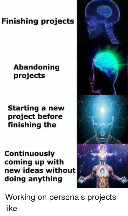 personals: Finishing projects  Abandoning  projects  Starting a new  project before  finishing the  Continuously  coming up with  new ideas without  doing anything Working on personals projects like