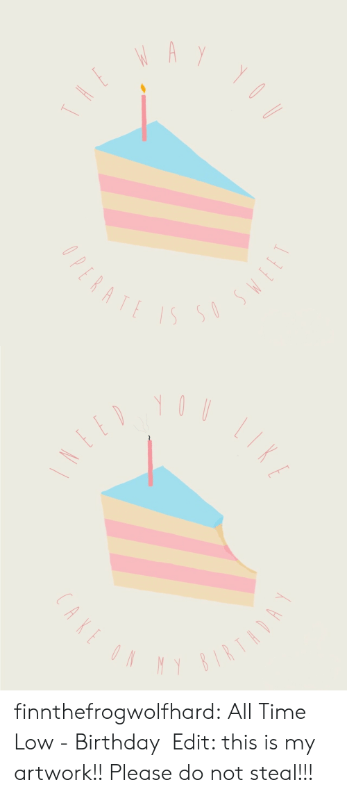 all time low: finnthefrogwolfhard:  All Time Low - Birthday  Edit: this is my artwork!! Please do not steal!!!