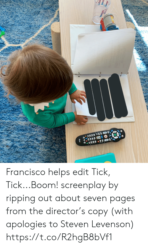 ripping: fios Francisco helps edit Tick, Tick...Boom! screenplay by ripping out about seven pages from the director's copy (with apologies to Steven Levenson) https://t.co/R2hgB8bVf1