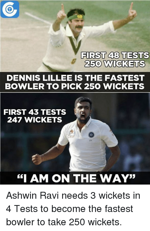"""first 48: FIRST 48 TESTS  2500  WICKETS  DENNIS LILLEE IS THE FASTEST  BOWLER TO PICK 250 WICKET  FIRST 43 TESTS  247 WICKETS  Star  """"I AM ON THE WAY"""" Ashwin Ravi needs 3 wickets in 4 Tests to become the fastest bowler to take 250 wickets."""