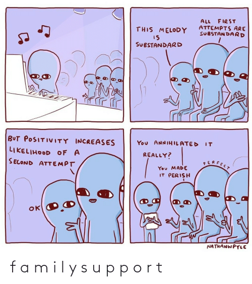 All, First, and Melody: FIRST  ALL  ATTEMPTS ARE  SUBSTAN DARD  THIS MELODY  IS  SUBSTANDARD  BUT POSITIVITY INCREASES  You ANNIHILATED  IT  LIKELIHOOD OF A  REALLY?  SERFECT  SECOND ATTEMPT  You MADE  IT PERISH  NATHANWPYLE f a m i l y s u p p o r t