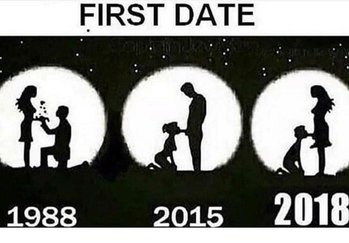 Memes, Date, and 🤖: FIRST DATE  1988  2015 2018