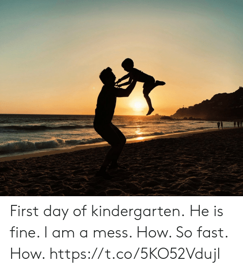 Memes, 🤖, and How: First day of kindergarten. He is fine.  I am a mess.  How. So fast. How. https://t.co/5KO52Vdujl