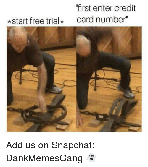 """Memes, Snapchat, and Free: """"first enter credit  card number""""  *start free trialk Add us on Snapchat: DankMemesGang 👻"""