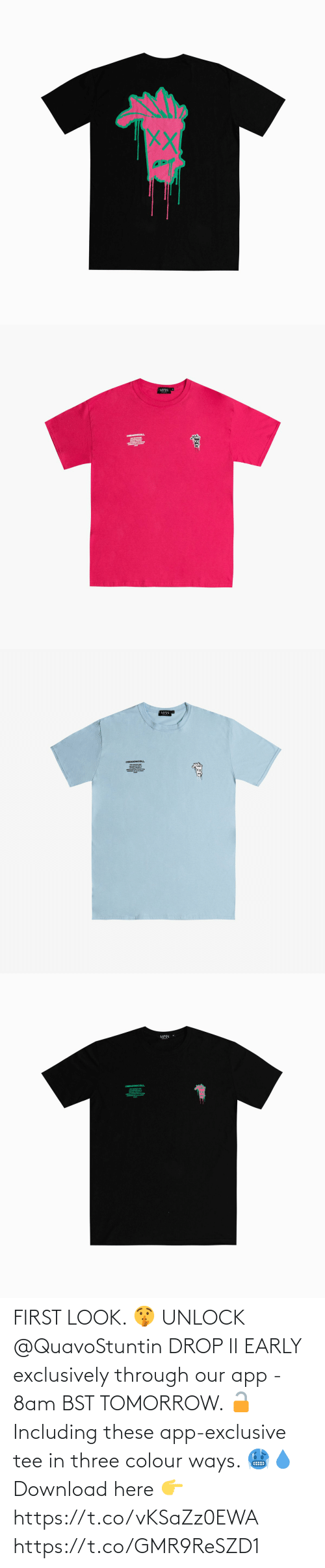Colour: FIRST LOOK. 🤫  UNLOCK @QuavoStuntin DROP II EARLY exclusively through our app - 8am BST TOMORROW. 🔓  Including these app-exclusive tee in three colour ways. 🥶💧  Download here 👉 https://t.co/vKSaZz0EWA https://t.co/GMR9ReSZD1