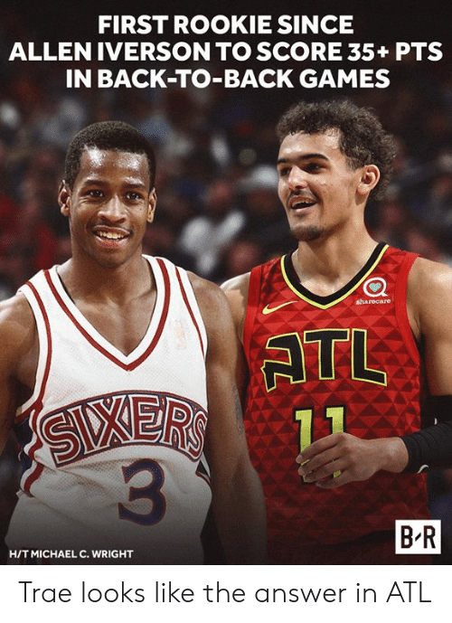 Allen Iverson: FIRST ROOKIE SINCE  ALLEN IVERSON TO SCORE 35+ PTS  IN BACK-TO-BACK GAMES  sharecare  ATL  3  B R  HITMICHAEL C. WRIGHT Trae looks like the answer in ATL