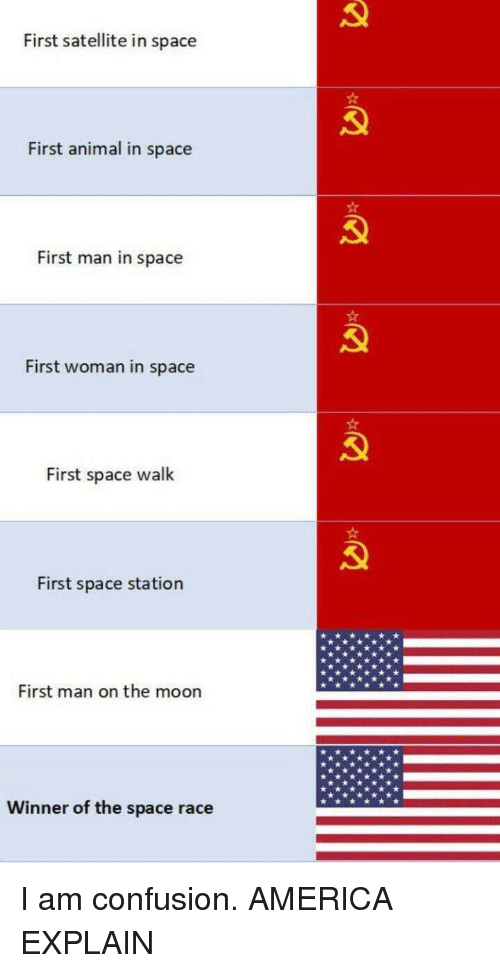 space station: First satellite in space  First animal in space  First man in space  First woman in space  First space walk  First space station  First man on the moon  Winner of the space race I am confusion. AMERICA EXPLAIN
