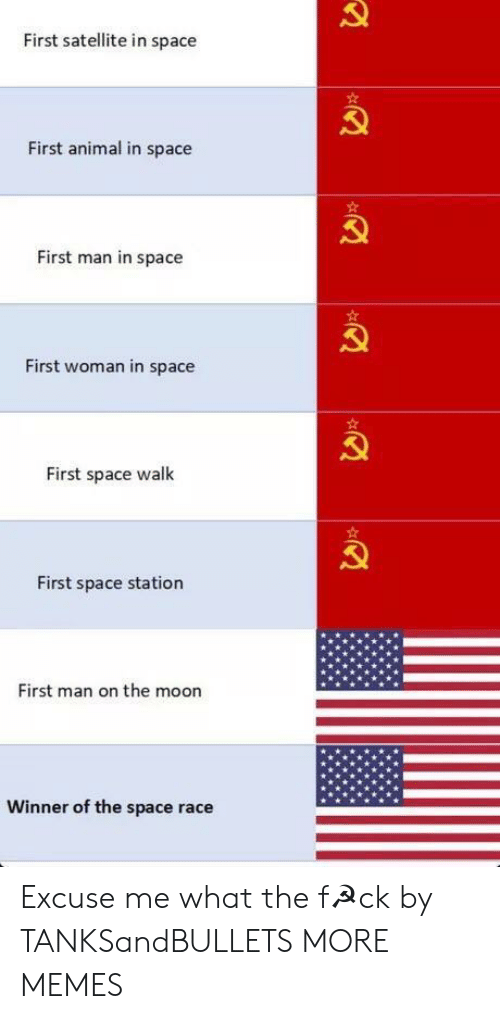 space station: First satellite in space  First animal in space  First man in space  First woman in space  First space walk  First space station  First man on the moon  Winner of the space race Excuse me what the f☭ck by TANKSandBULLETS MORE MEMES