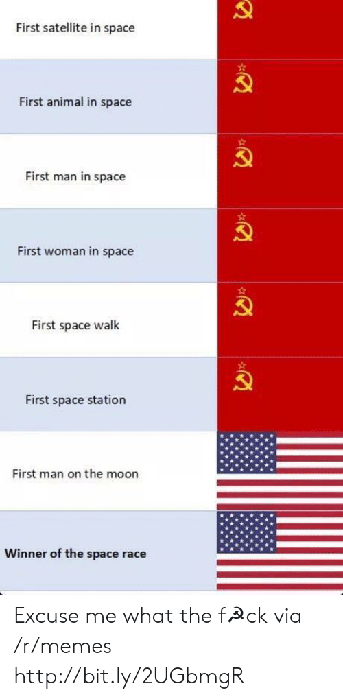 space station: First satellite in space  First animal in space  First man in space  First woman in space  First space walk  First space station  First man on the moon  Winner of the space race Excuse me what the f☭ck via /r/memes http://bit.ly/2UGbmgR